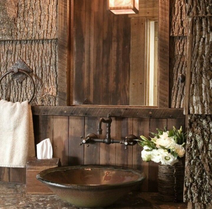 Magnificent Vessel Sink Faucets Fashion Sacramento Rustic Powder Room  Remodeling Ideas With Natural Wood Towel Ring Wall Mirror Wall Sconce Wood  Wall