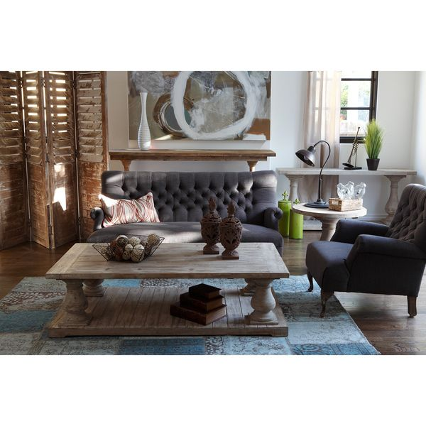 Kosas Home Winfrey Reclaimed Pine Wood Black Coffee Table