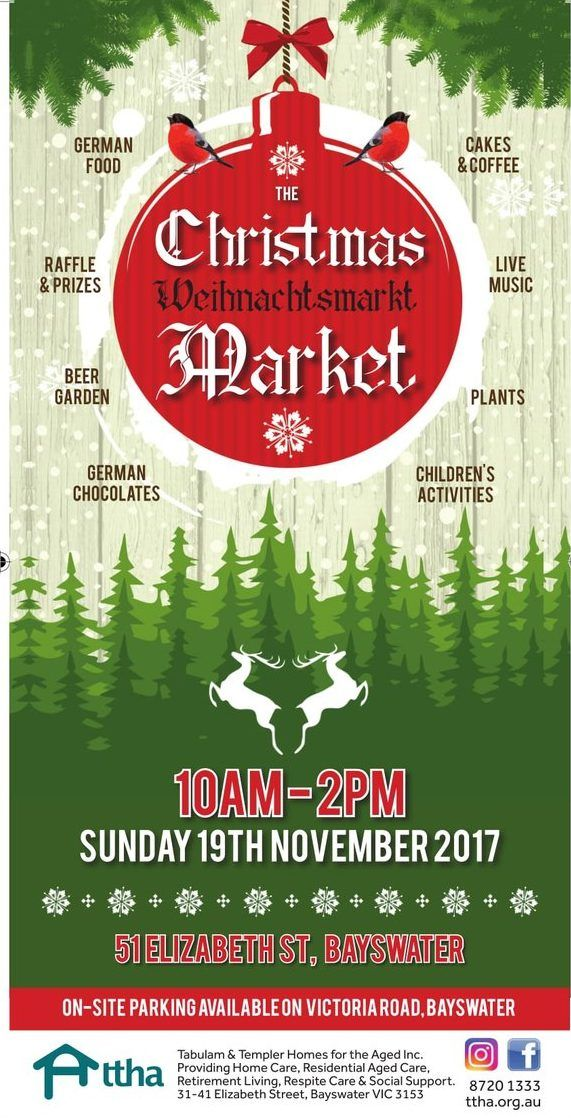 The TTHA Weihnachtsmarkt German Christmas Market returns to Bayswater on Sunday 19th November 2017. 51 Elizabeth Street, Bayswater. Ample of parking entry via Victoria Road. Gold coin donation. This one-day only event will feature a wide range of Christmas gifts ideas and tempting German food stalls. Kicking off at 10am, all are welcome to come …