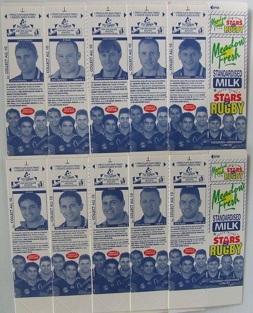1997 Meadow Fresh Canterbury & Otago NPC Rugby Milk Cartons - Back ...