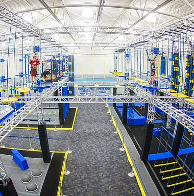trampoline, ropes course, ninja course, climbing