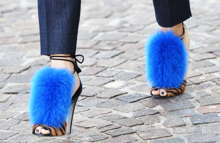 blue fur shoes