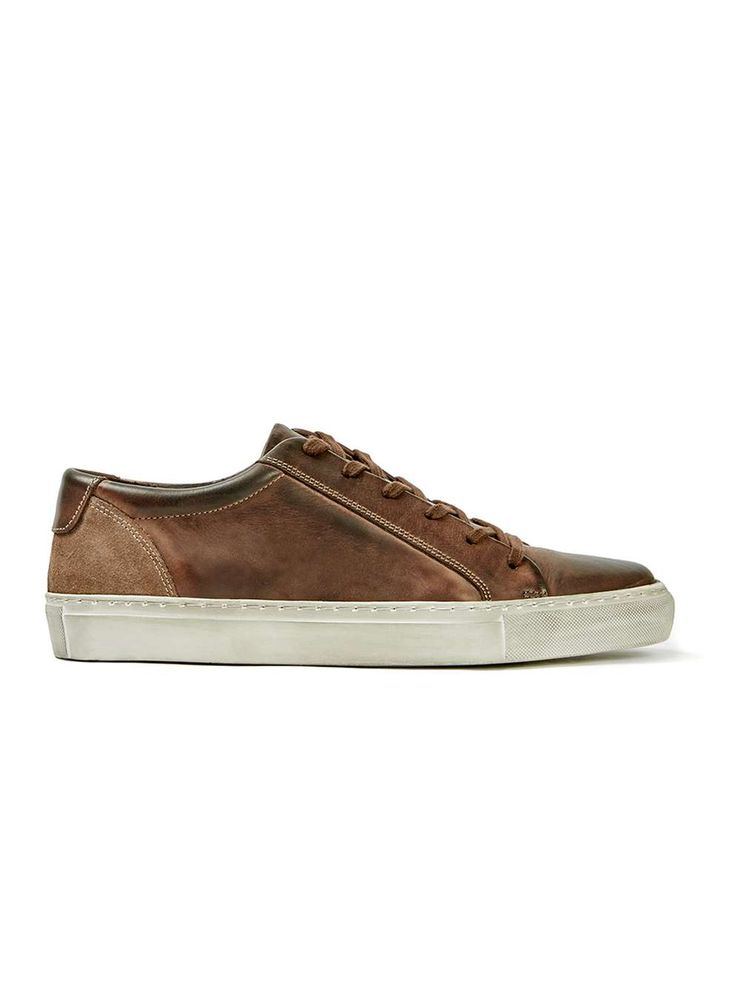 Brown Distressed Leather Sneakers