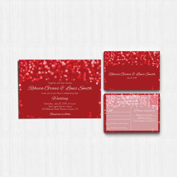 Printed Red Wedding Invitation Red Wedding Invitation  by MinimalMoon on Etsy, wording just an example