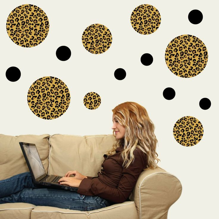 Leopard Print Dots Large Repostionable Peel and Stick Wall Decals. Cheetah  ...