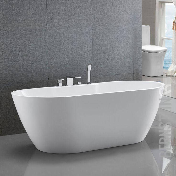 Freistehende Badewanne Acryl JAZZ PLUS weiß - 170x80cm Wannenrandarmatur
