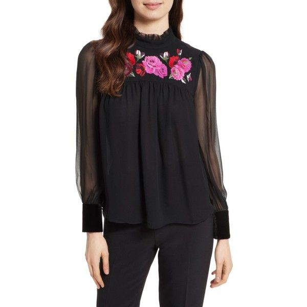 Women's Kate Spade New York Delilah Silk Top ($328) via Polyvore featuring tops, black, flower embroidered top, floral embroidered top, kate spade tops, ruffle neck top and kate spade