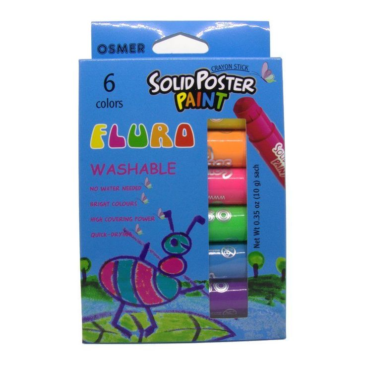 $15.50 Delivered : Osmer Solid Poster Paint Crayon Sticks 6 pack Fluro  Crayon sticks used for drawing or painting on paper, cardboard, wood etc. Solid poster paint.      No water needed.     Bright colours.     High covering power.     Quick drying.     Washable.     Silky Finish.     Solvent free.