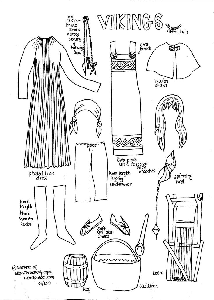 Paper Dolls Ancient Vikings -  free printables from historic eras