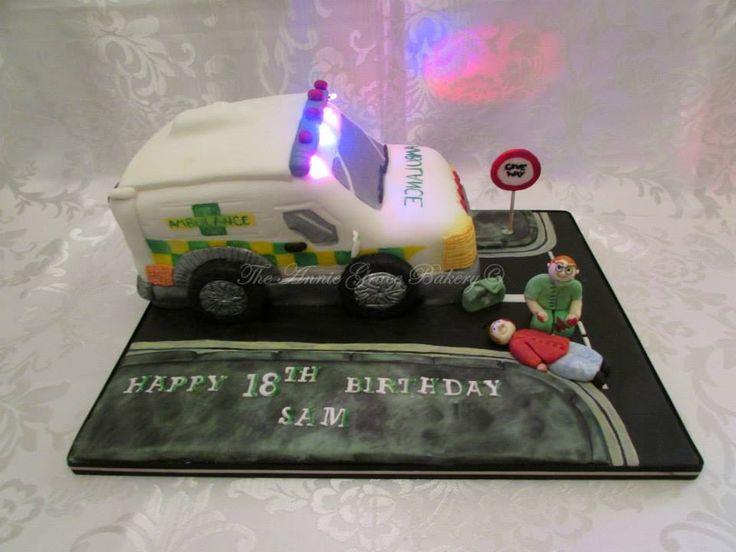 Ambulance cake with flashing LED lights :)