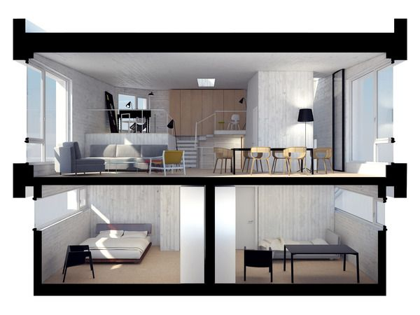 3D section/  Passive House Lozen Design by:  Architecture - dontdiy – arch.Hristo Stankushev and arch.Svetoslav Michev MEP and Sustainability Consultant - AEE Asian European Engineering Ltd. - eng.Rumen Yordanov   A complete project