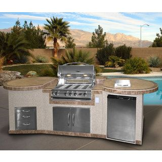 Cal Flame 3-piece BBQ Island with 32-Inch Cal Flame Natural Gas BBQ Grill