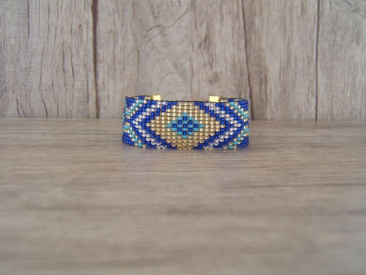 Bracelet Tissé Motif Géométrique Losange Bleu Saphir et Turquoise : Bracelet par emma-shop