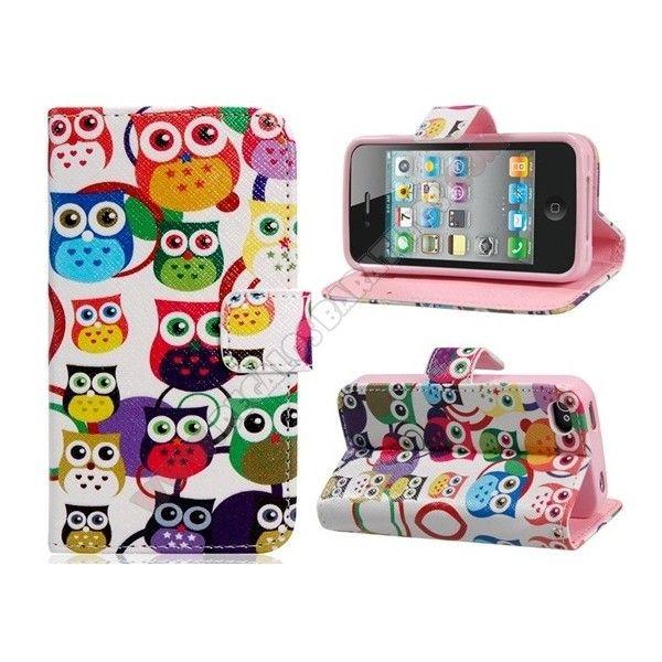Funda diseño cartera búhos divertidos para iPhone 4/4S