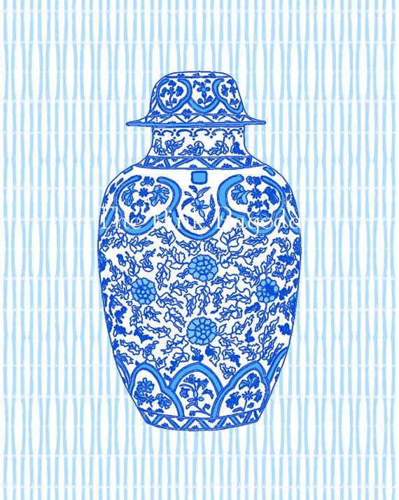 Ming Blue Chinoiserie Ginger Jar 11x14 Giclee. $35.00, via Etsy.