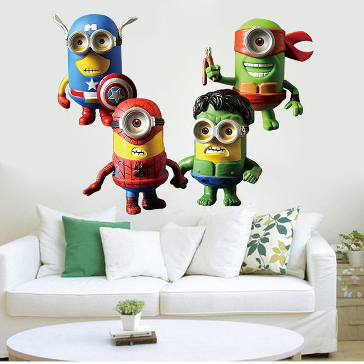 New Small Yellow People Incarnations The Avengers Super hero Wall Stickers Home Decorative Landscaping 30x90CM D0 #Affiliate