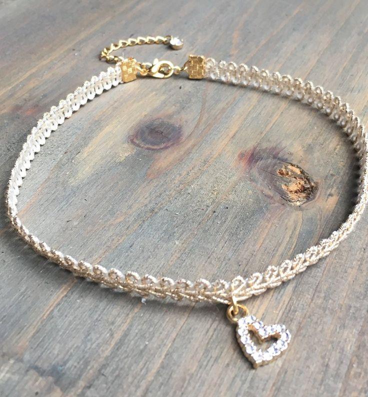 Choker Necklace Gold Heart