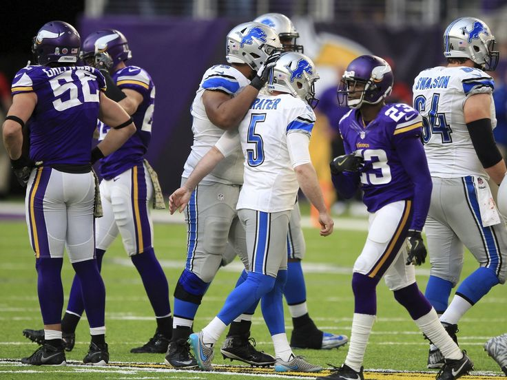 Lions vs. Vikings:  22-16, Lions  -  November 6, 2016  -    Detroit Lions kicker Matt Prater (5) celebrates with teammates after making a 58-yard field goal during the second half of an NFL football game against the Minnesota Vikings, Sunday, Nov. 6, 2016, in Minneapolis.  Andy Clayton-King, Associated Press