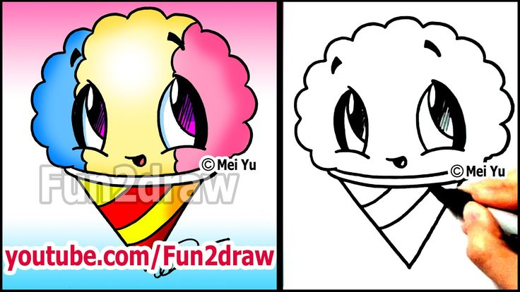 Summer snacks how to draw a snow cone drawing for Fun and easy drawings