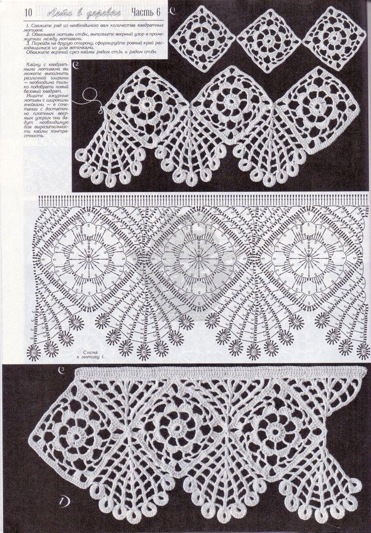 широкая кайма крючком Crochet Buttons Bordure Edgings вязание