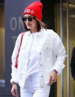 海外セレブスナップ | Celebrity Style: 【ベラ・ハディッド】オールホワイトコーデに絶妙な赤の差し色でお出かけ!
