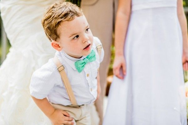 Pretty Peach Rustic North Carolina Wedding Page Boy Bow Tie Braces http://meettheburks.com/