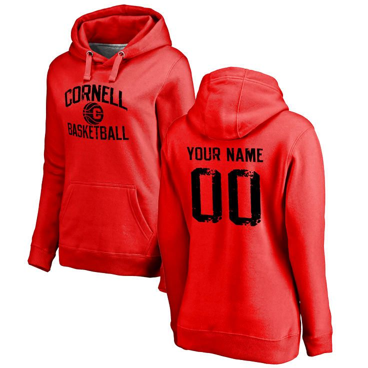 Cornell Big Red Women's Personalized Distressed Basketball Pullover Hoodie - Scarlet - $69.99