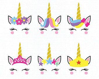 Unicorn Faces SVG, DXF, Face Unicorn Clipart, Unicorn svg, Unicorn, Unicorn png, Unicorn clipart, Unicorn Stencil, Unicorn Vector File