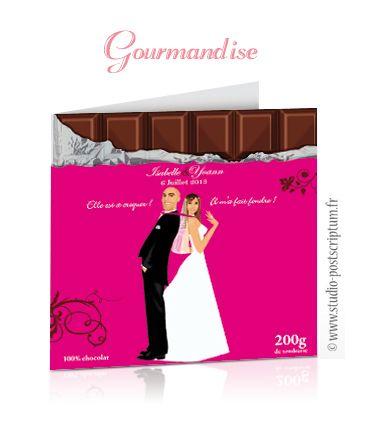 Faire-part de mariage original romantique gourmand vintage tablette chocolat gourmandise chic – candy bar - sweet wedding invitation card save the date © www.studio-postscriptum.fr