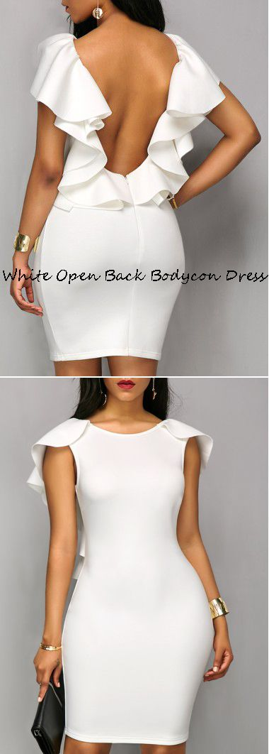 White Ruffle Open Back Bodycon Dress