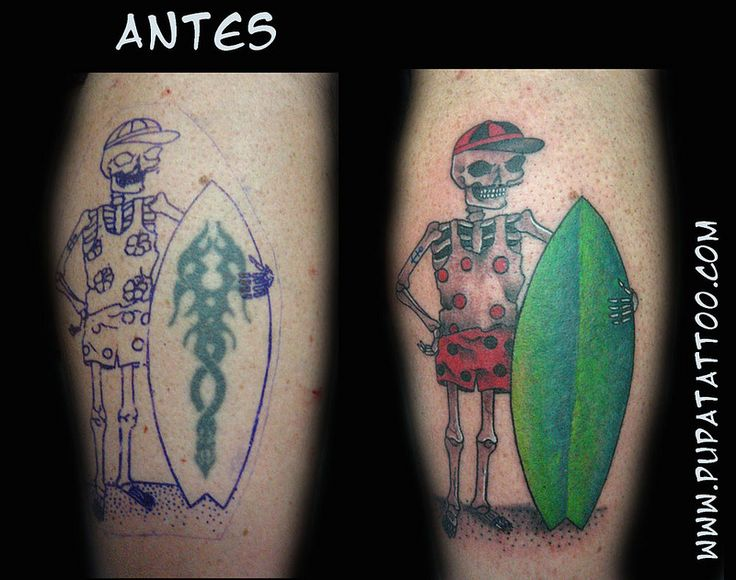tatuaje esqueleto surfero, Pupa Tattoo, Granada