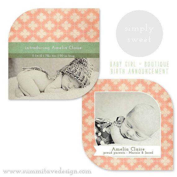 17 best ideas about Birth Announcement Template – Baby Girl Birth Announcement Template