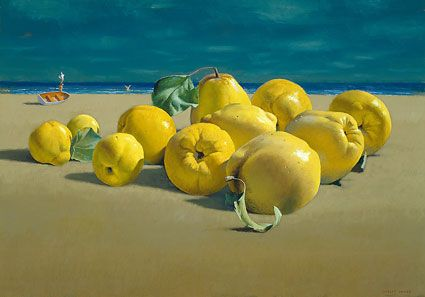 Turn the Ordinary into Extraordinary - by placing a mundane still-life arrangement in a surreal setting - image inspiration: Jeffrey Smart's 'Quinces by the Sea'