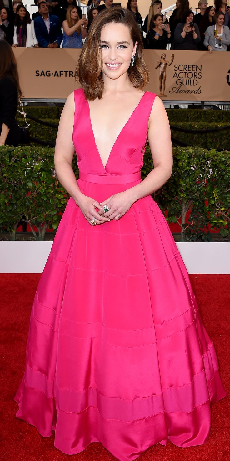 2016+SAG+Awards+Red+Carpet+Arrivals Emilia Clarke in Dior from InStyle.com