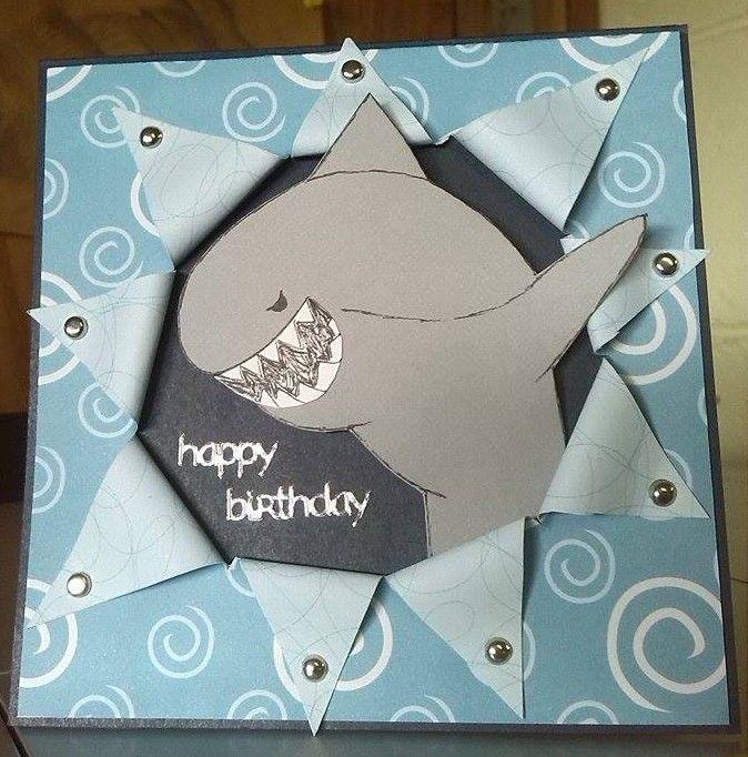 Shark in starburst - Happy Birthday card