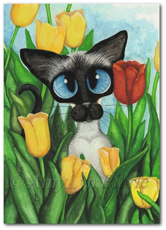 Siamese Series #344 - Title: Tulips by AmyLyn Bihrle www.amylyn-bihrle.com | All rights reserved. All prints are hand signed and dated by author. | #tulips #siamesecats #nature #flowers #occasionallygifts #seasons
