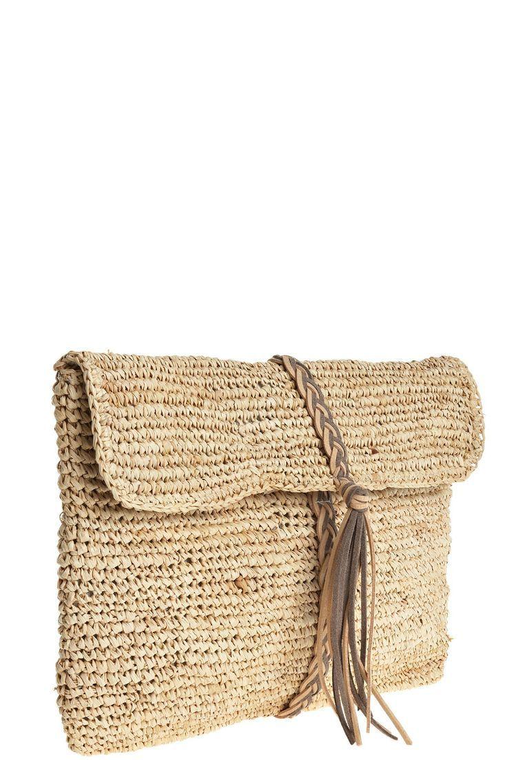 Bolso de mano: crochet a punto bajo de rafia o algo parecido