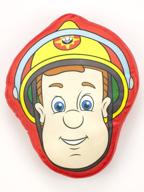 Fireman Sam Shaped Plush Cushion Shaped cushion measures 40cms x 32cms approximately 16in x 12 5in Plush cushion very soft to touch.  Snuggle up with your favourite hero with this Fireman Sam Shaped Plush Cushion. The colourful cushion comes in the shape of Sams head on a red background. This item can be machine washed and makes a great addition to any Fireman Sam themed bedrooms.