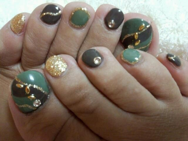 cool autumn foot nail♪