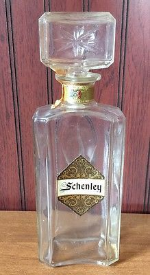 Vtg Schenley Wine Liquor Whiskey Starburst Decanter Bottle Heavy Glass Cork Top