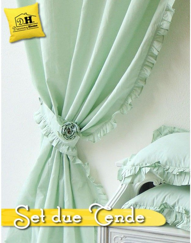 Set di due tende Shabby Chic Blanc Mariclo Sorbetto Collection Verde Acqua 150 x 290 cm