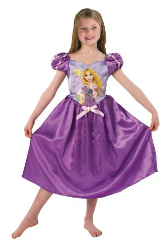 Per il Natale da fiaba della tua bambina, scopri con noi questo bell'abito da Rapuntzel™ con licenza ufficiale Disney™. Lungo fino al polpaccio, esso è realizzato in tessuto satinato nei toni del viola e del lilla e reca sul corpetto il ritratto della celebre principessa Disney™ dai lunghissimi capelli biondi!