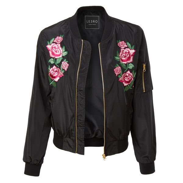 Make a statement in this lightweight windbreaker floral embroidery bomber jacket. Put a feminine, vintage-inspired spin on the bomber trend in a water resista…