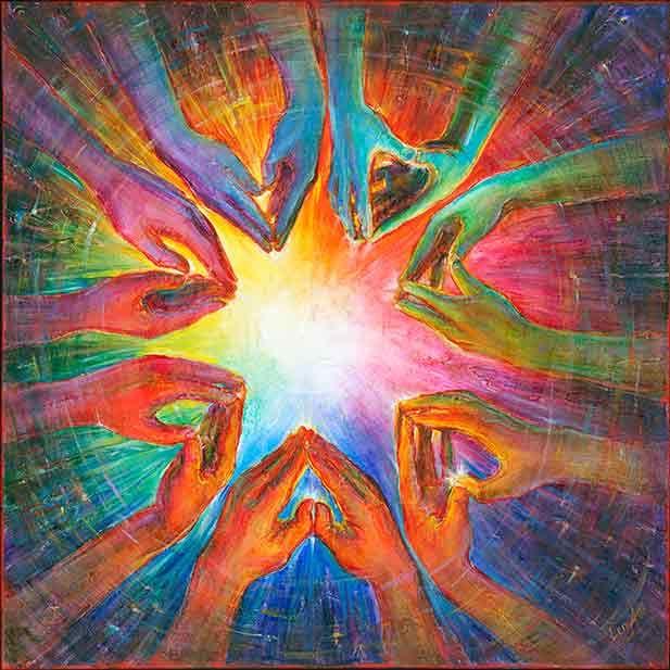 """Healing Flower"" - for healing - fine art print   Ottawa Art Gallery-Good Luck,Healing,Spiritual Metaphysical Energy Art paintings,prints-artists Elena Khomoutova,Alex Khomoutov"