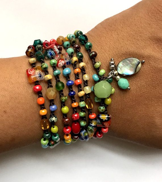 Häkeln Sie Wickel-Armband Perlen böhmische Schmuck von CoffyCrochet