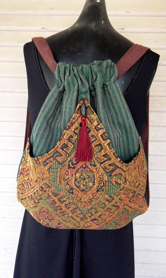 Backpack of Chenille Tapestry Boho Backpack by piperscrossing, $45.00 Gorgeous even if I wouldn't make it as a backpack.