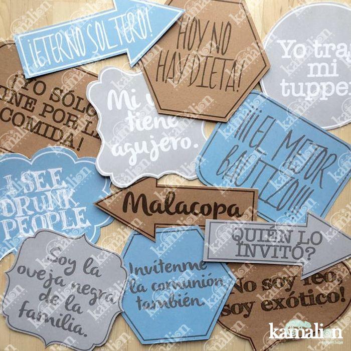 www.kamalion.com.mx - Signs / Letreros / Detalles Personalizados / Vintage / Bautizo / It's a boy / Blue / Azul / Gris / Photocall / Photobooth / Props / Fotos.
