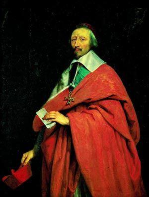 """Ritratto del cardinale Richelieu - L'abito corale dei cardinali è di color rosso porpora (da cui il nome di """"porporati""""),  a simboleggiare la disponibilità anche al martirio."""