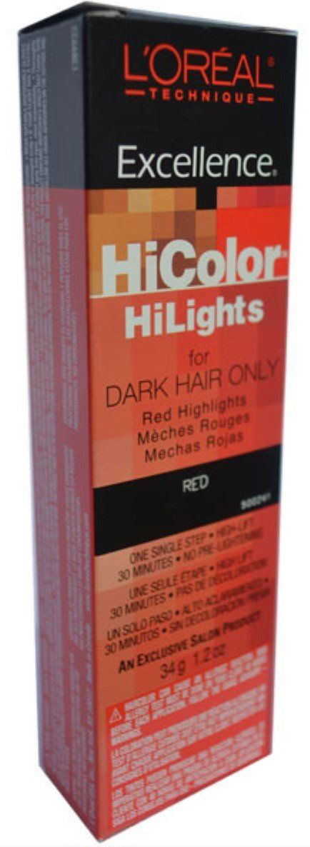 L'oreal Excellence Hicolor, Red Highlights, 1.2 Ounce. For dark hair. 30 minute processing time. No pre-lightening required.