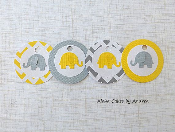 Elephant+Yellow+and+Gray+Baby+Shower+Favors+by+AlohaCakesbyAndrea,+$4.75